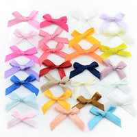 Wholesale Embellishments Bows - 500pcs lot Handmade Small Polyester Satin ribbon Bow Flower Tie Appliques Wedding Scrapbooking Embellishment Crafts Accessory