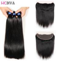 Wholesale Top Closure Frontal - Brazilian Virgin Human Hair Closure Bundles 13x4 Ear to Ear Top Lace Frontal Closure Straight Hair Bundles 3 Bundles with Lace Frontal