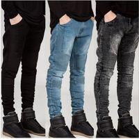 erkek denim biker jeans toptan satış-Erkek Skinny jeans Pist Sıkıntılı İnce elastik kot denim Biker hiphop pantolon erkekler için Yıkanmış siyah kot