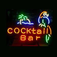 ingrosso luci del pappagallo-insegna al neon COCKTAIL BAR PARROT vero tubo di vetro leggero fatto a mano bar beer club nella sala giochi a muro