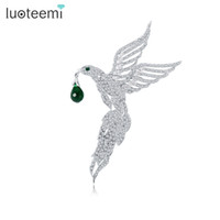 Wholesale Zirconia Brooch - High Quality Eagle Shape Animal Brooches Micro Paved Tiny Clear CZ Women Wedding Apparel Pins Jewelry New Arrival Unique Design LUOTEEMI
