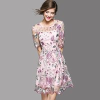 Wholesale High End Mini Dresses - High-End Dresses 2018 Summer High Quality Fashion Petal Short Sleeve Pretty Floral Embroidery Mesh Women Dress