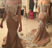 Wholesale short prom embroidered dresses - 2017 Gorgeous Mermaid Evening Dresses Bateau Neck Off Shoulder Embroidered Satin Champagne Brown Arabic Dubai Formal Dresses Long Prom Dress