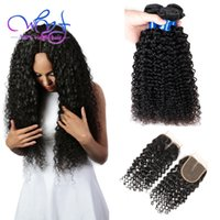 Wholesale Wholesale Real Peruvian Virgin Hair - Unprocessed Peruvian Curly Hair With Closure 8A 3 Bundles Peruvian Kinky Curly Virgin Hair Weave Real Peruvian Hair Bundle Deals