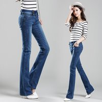 Wholesale Jeans Woman Size 32 - Wholesale- Free Shipping Promotion Women's Boot Cut Denim Blue Jeans High Waist Wide Leg Pants Girls Flares Trousers Size 26-32
