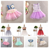 Wholesale Dressed Bottles - Summer Kids Girls Dress Paillette Print Girl Lace Dress Flower Bowknot Denims Princess Party Dresses Sleeveless Tutu Skirt Free Shipping