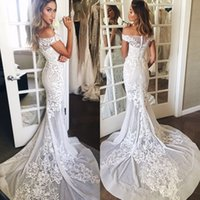Wholesale floral chic - 2017 Chic Appliqued Flora Embroidery Mermaid Wedding Dresses Sexy Off Shoulders Sheer Illusion Long Train Bridal Gowns Formal Custom Made