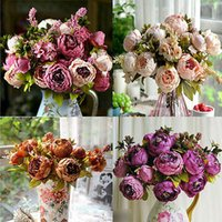 Wholesale Silk Peony White - Wholesale- Artificial Peony Silk Flower Bouquet Home Party Wedding Decoration
