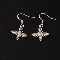 Wholesale Silver 925 Bee - Bee Flying Earrings 925 Silver Fish Ear Hook 17.2x30.5mm 60pairs lot Antique Silver Chandelier E962