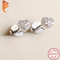 Wholesale Ladies Sterling Silver Earrings - BELAWANG Trendy 100% Real 925 Sterling Silver Earrings for Women Jewelry Luxury Clear Cubic Zirconia Love Heart Stud Earrings for Ladies