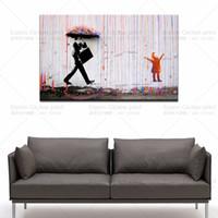 grandes pinturas quadro da arte abstracta venda por atacado-Banksy street art Colorido Rain canvas pintura retrato da parede para decoração de casa sala de estar parede pictures wall art canvas paintings