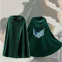 Wholesale attack titan eren cosplay - Attack On Titan Costume Green Cloak Japanese Anime Cosplay Shingeki No Kyojin Hoodie Eren Levi Mikasa Cloak Scout Legion Coat
