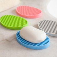 Wholesale Toilet Water - Silicone Flexible Toilet Soap Holder Plate Hollow Design Non Residue with Water Bathroom Soap box Anti Slip Soap Dish Holder KKA2152