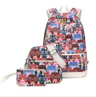Wholesale Plum Owl - Animal Owl Printing Backpack Bookbags School Backpacks Bags Outdoor Travel For Teenage Girls 3pcs set OOA2585