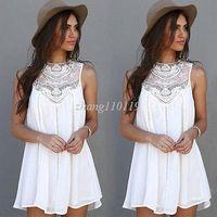 Wholesale Square Short Sleeve Ruffle - Women Sexy Summer Casual Sleeveless Evening Party Beach Dress Short Mini Dress