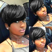 Cheap Full Lace Cabelo Humano Perucas nenhum Lace frente Perucas de cabelo humano Best Short Cheap Short Wigs For Black Women Straight Mixed Human Hair Weave