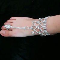 kadın beyaz sandalet yapay elmas toptan satış-Moda kadın ayak takı plaj düğün Için Beyaz kristal Rhinestones Halhal Barefoot Sandalet Gelin düğün Takı aksesuarları