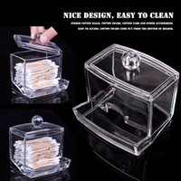Wholesale Makeup Cotton Swab - New Creative Clear Acrylic Storage Holder Box Transparent Cotton Swabs Stick Cosmetic Makeup Organizer Case High Quality