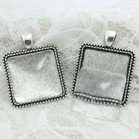 Wholesale Square Cabochon Settings - Sweet Bell 6 set Antique silver Alloy Square 30*38mm(Fit 25*25mm dia)Cabochon Setting Pendant Bla + Clear Glass Cabochons D0709