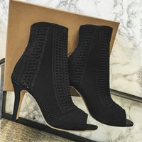 Wholesale Thin Ankle Toe Socks - New Fashion Gianvito Shoes Stretch-knit Rossi Knit Vires Booties Vires Sock Ankle Boots