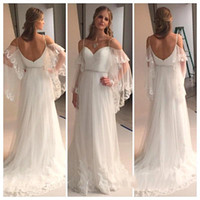 Wholesale Fairy Appliques - 2017 Bohemian Summer Beach Wedding Dresses A Line Tiers Tulle with Appliques Sweetheart Beads Belt Sexy Back Cheap Fairy Bridal Gowns BA0545