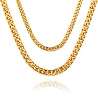 Wholesale Gold Necklace Lin - 2017 new Heavy Cool Mens Solid Gold Fashion Thick Miami Cuban Lin Necklace 75cm Chain Hip Hop Rock Trendy Jewelry For Men Women Gift