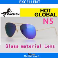 Wholesale Deep Frames - KaChen N5 112 17 019 17 58 62mm uv400 DEEP BLUE GLASS LENS Gold silver frame UV400 protection sunglasses glasses men women
