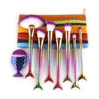 Wholesale Flat Shapes - Mermaid Tail Shape Blending Brush 8pcs set Foundation Cosmetic Brush Thread Cosmetic Make Up Flat Mermaid Rainbow Brushes Set With Bag