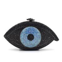 bayanlar moda gece çantaları cüzdanlar toptan satış-2017 Yeni Moda En Nazar Şekli Kristal Akşam Çanta Kadın Parti Debriyaj Çanta Bayanlar Yemeği Çanta Ile Zincir