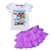 Wholesale Toddler Tutu Free Shipping - Summer Girls Clothging Set 2-8Y Kids Clothes Set Moana T-Shirt+Tutu Skirt Sport Suit Toddler Girls Clothing 4 colors Free shipping LA408