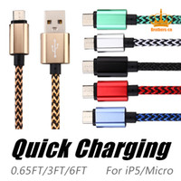 Wholesale Plug For Cellphone - 0.2M 1M 2M 5V 2A Quick charge Braided Metal Plug Micro USB Cable Coiled Data Cable For Android All Cellphone