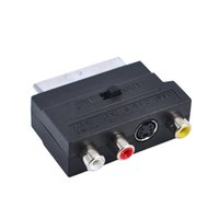 Wholesale Audio Video Speakers - Hot Selling RGB Scart to Composite RCA S-Video AV TV Audio Adapter Black Color Converter   Connector