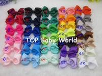 "аксессуары для волос из фарфора для девочек оптовых-Wholesale- 50pcs/lot 3"" Baby Ribbon Bows with Clip Baby Boutique Hair Ribbon Bows Hairclips Girls' Hair Accessories Via China Post Air"