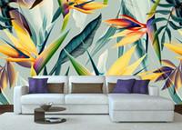 росписи птиц оптовых-Юго-восточный азиатский стиль тропический тропический лес рай птица зеленый лес обои ручная роспись обои обои артефакты большая роспись