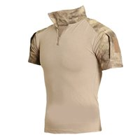 Wholesale multi camo shirt online - Tactical Clothing Men Camouflage T shirt Men Cotton Army Tactical Combat T Shirt Sport Camo Camp Mens T Shirts Summer Polo shirt