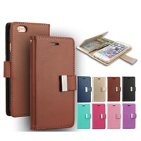 Wholesale Diary Case For Iphone - For iPhone 7 Plus 6 6S 5 5S MERCURY Coospery Wallet Case for Samsung S8 S7 Rich Diary PU Leather Card Slot Multi Function Wallet Photo Frame
