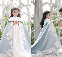 Wholesale Satin Bolero Wedding Dress - Embroidery girls pageant Dress Wedding Jacket Child Wedding Cape Cloak Bridal Bolero Shrug Dubai Abaya Kids Bridal Wraps Only sale cape