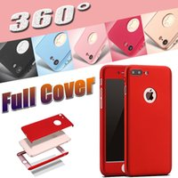 Wholesale Thin Hard Plastic Case - Ultra-thin Hybrid 360 Degree Coverage Full Body Protection Hard PC Full Cover Case Tempered Glass For iPhone 7 Plus 6 6S 5S 5 Samsung S8
