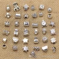Wholesale Necklace Big Flowers - 50pcs lot Mix Style Big Hole Loose Beads charm For Pandora DIY Jewelry Bracelet For European Bracelet & Necklace BP228