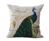 Wholesale Green Peacock Bedding - King of Birds Green Peacock Pillow Case Cushion cover Linen Cotton Throw Pillowcases sofa Bed Car Decorative Pillow covers free shipping