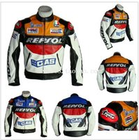 Wholesale Race Leather Jacket - Free shipping REPSOL PU men's motorcycle jacket motorcycle racing jacket PU leather motorcycle jacket