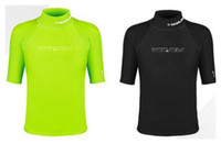Wholesale Men Surfing Shirt - WINMAX Lycra Rash Guard Surf Clothing Diving Suits Shirt Short Sleeve Swimwear Green And Black 5 Size 2017 AAA Top