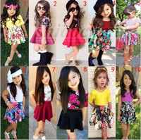 Wholesale Flower Bottle Champagne - Kids T-shirt Floral Skirt Sets Girl Fashion Outfits Summer Tutu Dress Outfits Flower Tops+Stripe Skirts Two-Piece Clothes 21 Color A861 10