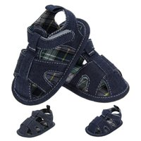Wholesale Toddler Boys Denim Shoes - The new blue denim soft bottom baby sandals toddler shoes