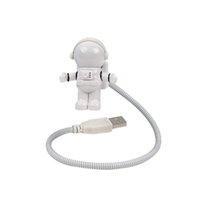 ingrosso tubo principale della lampada mini-Commercio all'ingrosso- Astronauta Astronauta Mini LED Night Light ABS + PC per computer portatile PC Notebook Pure White Tubo USB Lampada da lettura flessibile