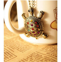Wholesale Turtle Necklace Rhinestones - Lovely Vintage Antique Bronze Color Turtle Pendant Necklace Inlay Colorful Rhinestone Fashion Summer Holiday Jewelry For Women