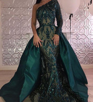 Wholesale Detachable Mermaid Dresses - Luxury Dark Green Evening Dresses 2018 One Shoulder Zuhair Murad Dresses Mermaid Sequined Prom Gown With Detachable Train Custom Made