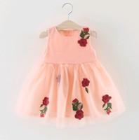 robes de fille de fleur de coton jaune achat en gros de-2017 été bébé fille robe coréen fleur ouverte fleurs mi-été le coton pur bébé enfants vêtements rose / jaune / blanc