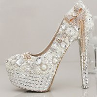 Wholesale Sparkle Beaded Bridal Shoes - Sparkling White Crystal Pearls Wedding Shoes With Tassels Round Toe 10 cm High heel Platform Bridal Gown Party Pumps For Women 2017