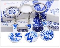 Wholesale Blue White Antique Porcelain - 2017 hot sale qinghua key chain of blue and white porcelain key chain wholesale metal key chain